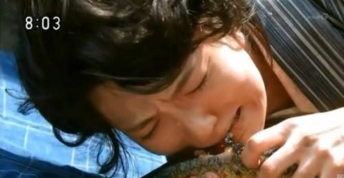 ついにサンマを食べるふみ